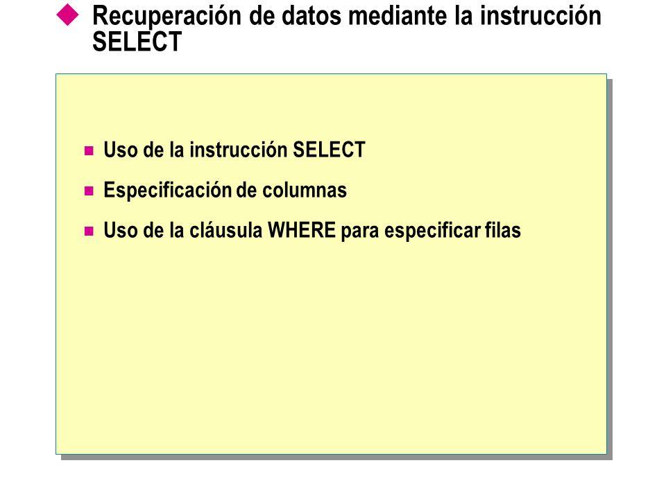 SELECT [ALL | DISTINCT] FROM [,…n] WHERE Sintaxis parcial Uso de la instrucción SELECT La lista de selección especifica las columnas La cláusula WHERE especifica las filas La cláusula FROM especifica la tabla