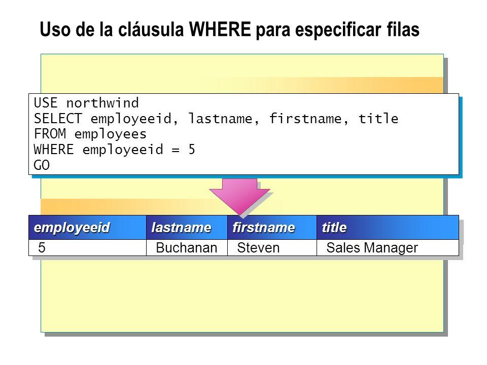 Filtros de datos Uso de los operadores de comparación Uso de comparaciones de cadenas Uso de operadores lógicos Obtención de un intervalo de valores Uso de una lista de valores como criterio de búsqueda Obtención de valores desconocidos