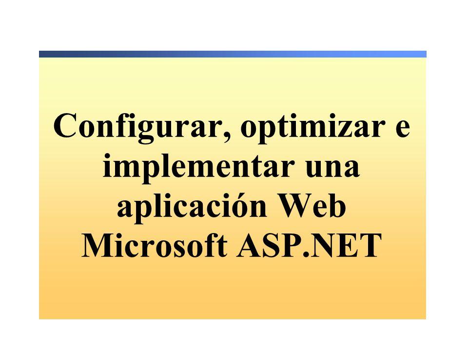 Almacenar y recuperar datos en Web.config Almacenar la configuración de la aplicación en un archivo Web.config Recuperar la configuración de la aplicación de un archivo Web.config <add key= pubs value= server=localhost; integrated security=true; database=pubs /> <add key= pubs value= server=localhost; integrated security=true; database=pubs /> Dim strPubs As String = _ ConfigurationSettings.AppSettings( pubs ) Dim strPubs As String = _ ConfigurationSettings.AppSettings( pubs ) AppSettingsReader App = new AppSettingsReader(); string strPubs = (string)App.GetValue( pubs , typeof(string)); AppSettingsReader App = new AppSettingsReader(); string strPubs = (string)App.GetValue( pubs , typeof(string));