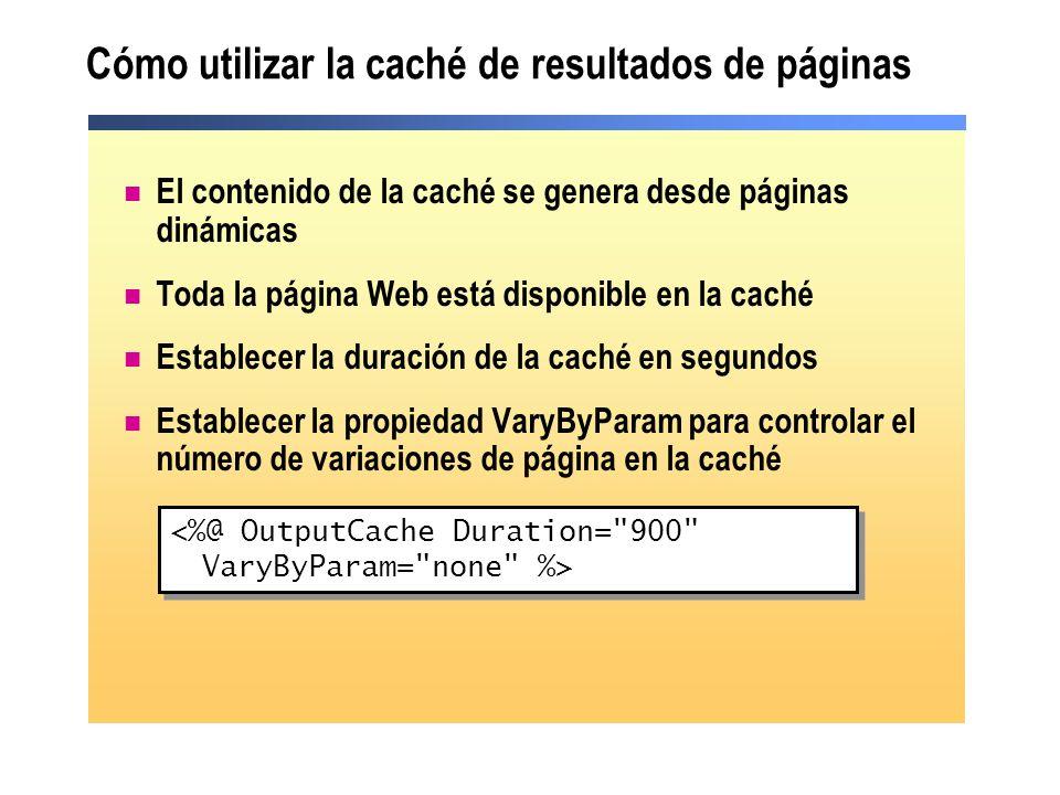 Cómo utilizar la caché de resultados de páginas El contenido de la caché se genera desde páginas dinámicas Toda la página Web está disponible en la ca