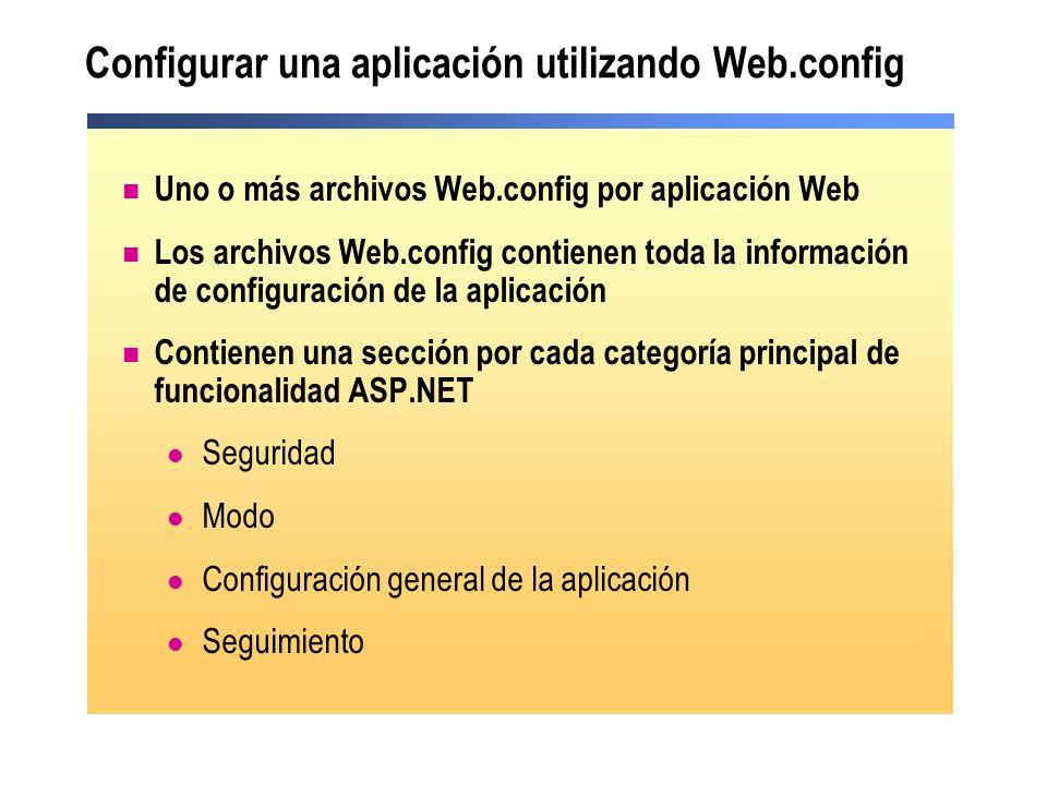 Configurar una aplicación utilizando Web.config Uno o más archivos Web.config por aplicación Web Los archivos Web.config contienen toda la información