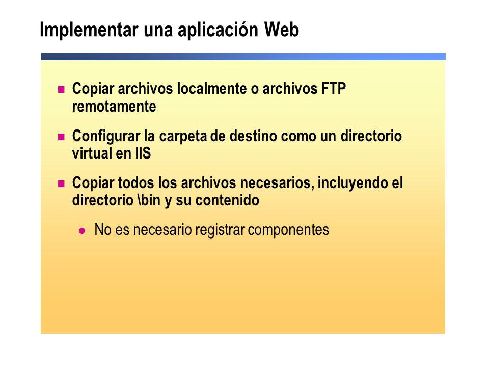 Implementar una aplicación Web Copiar archivos localmente o archivos FTP remotamente Configurar la carpeta de destino como un directorio virtual en II
