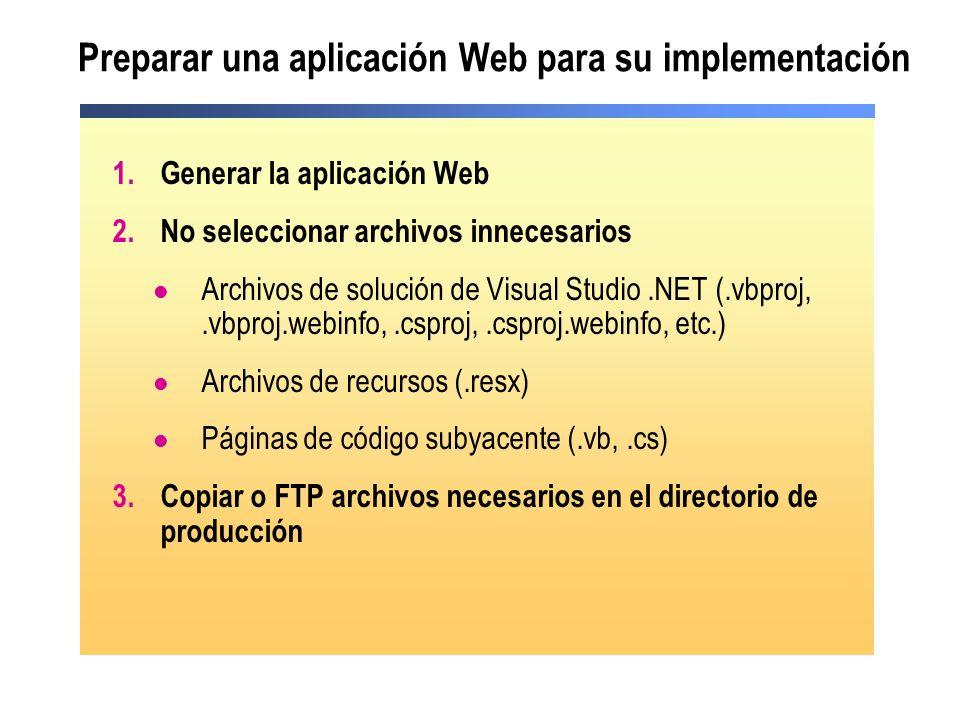 Preparar una aplicación Web para su implementación 1.Generar la aplicación Web 2.No seleccionar archivos innecesarios Archivos de solución de Visual S