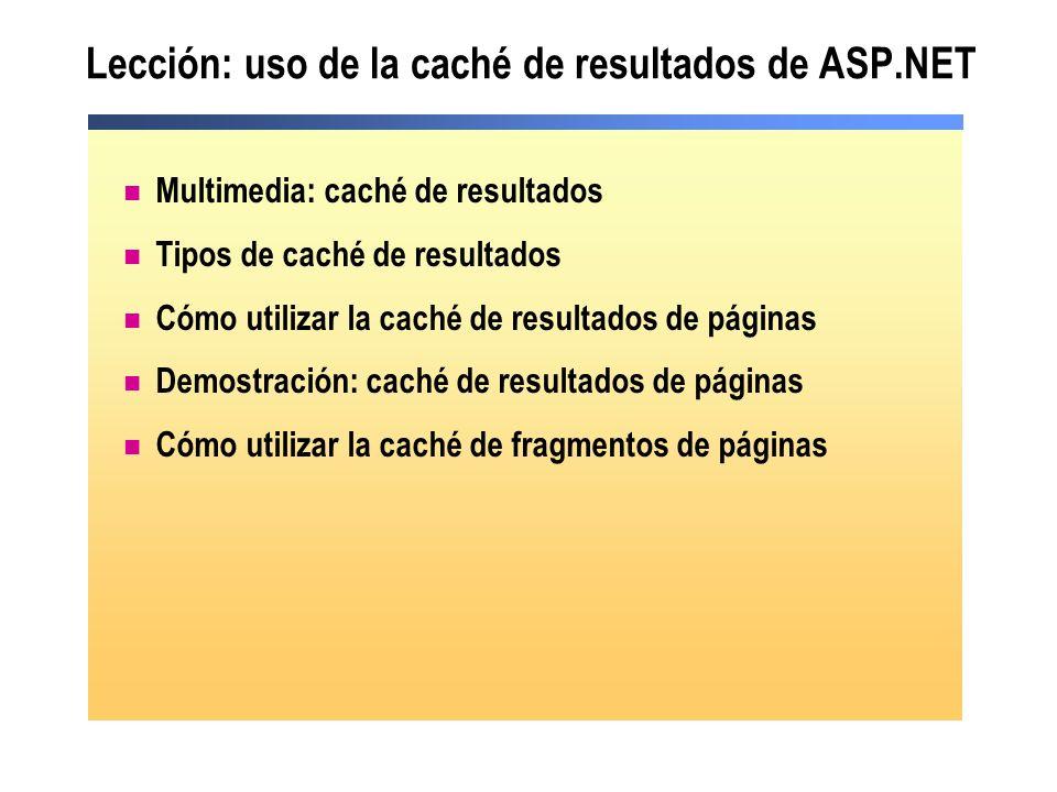 Lección: uso de la caché de resultados de ASP.NET Multimedia: caché de resultados Tipos de caché de resultados Cómo utilizar la caché de resultados de