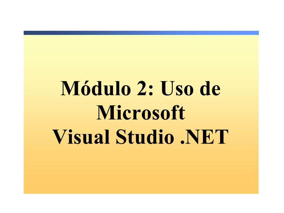 Módulo 2: Uso de Microsoft Visual Studio.NET