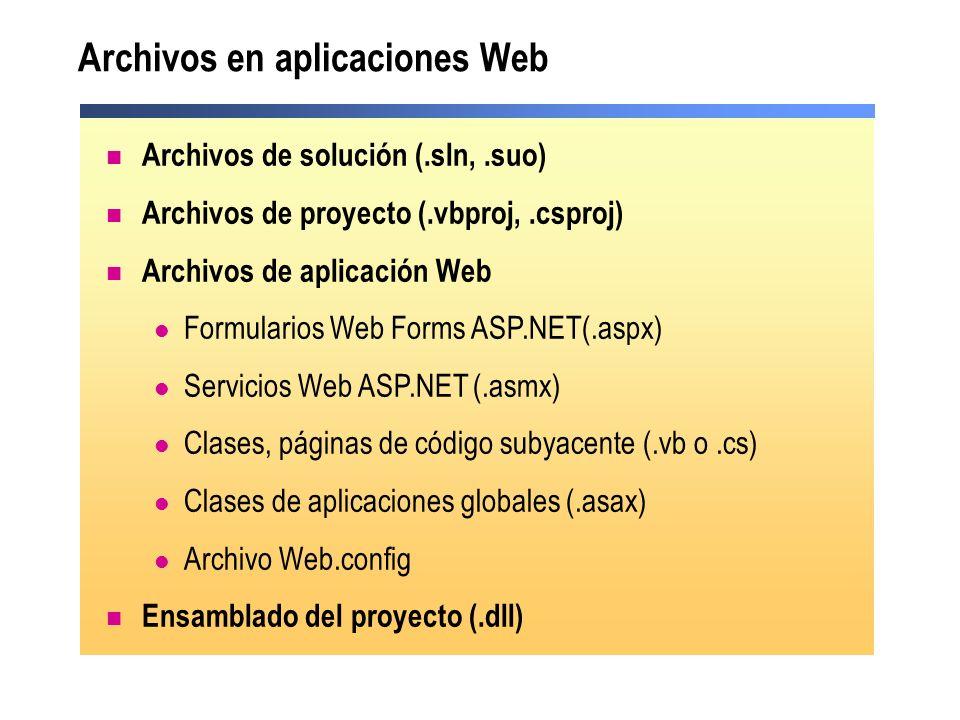 Archivos en aplicaciones Web Archivos de solución (.sln,.suo) Archivos de proyecto (.vbproj,.csproj) Archivos de aplicación Web Formularios Web Forms
