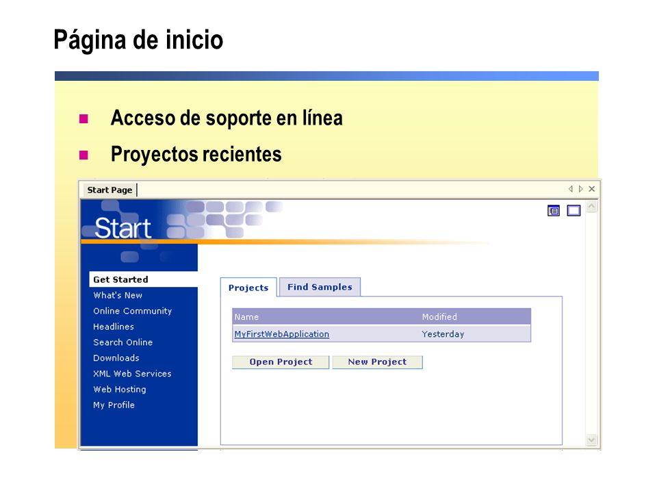 Página de inicio Acceso de soporte en línea Proyectos recientes