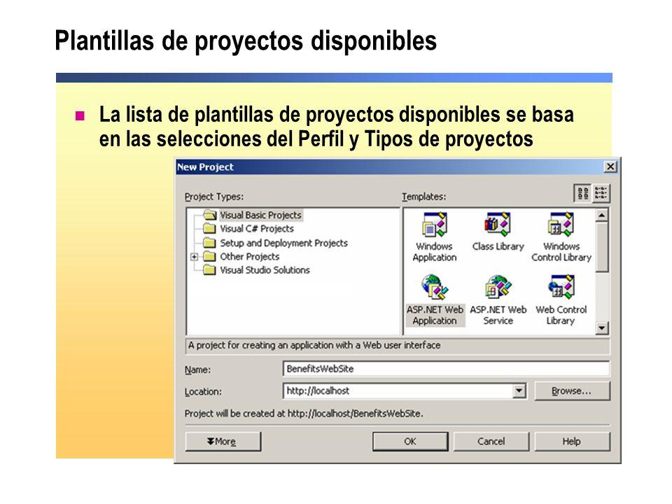 Plantillas de proyectos disponibles La lista de plantillas de proyectos disponibles se basa en las selecciones del Perfil y Tipos de proyectos