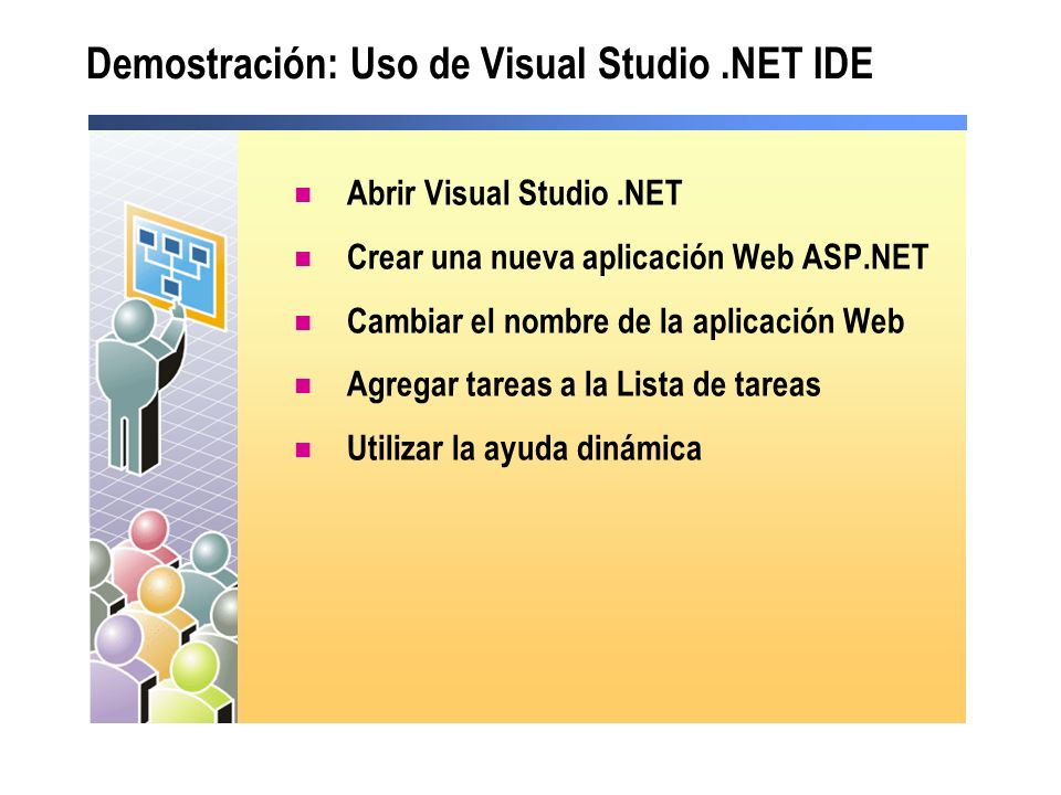 Demostración: Uso de Visual Studio.NET IDE Abrir Visual Studio.NET Crear una nueva aplicación Web ASP.NET Cambiar el nombre de la aplicación Web Agreg
