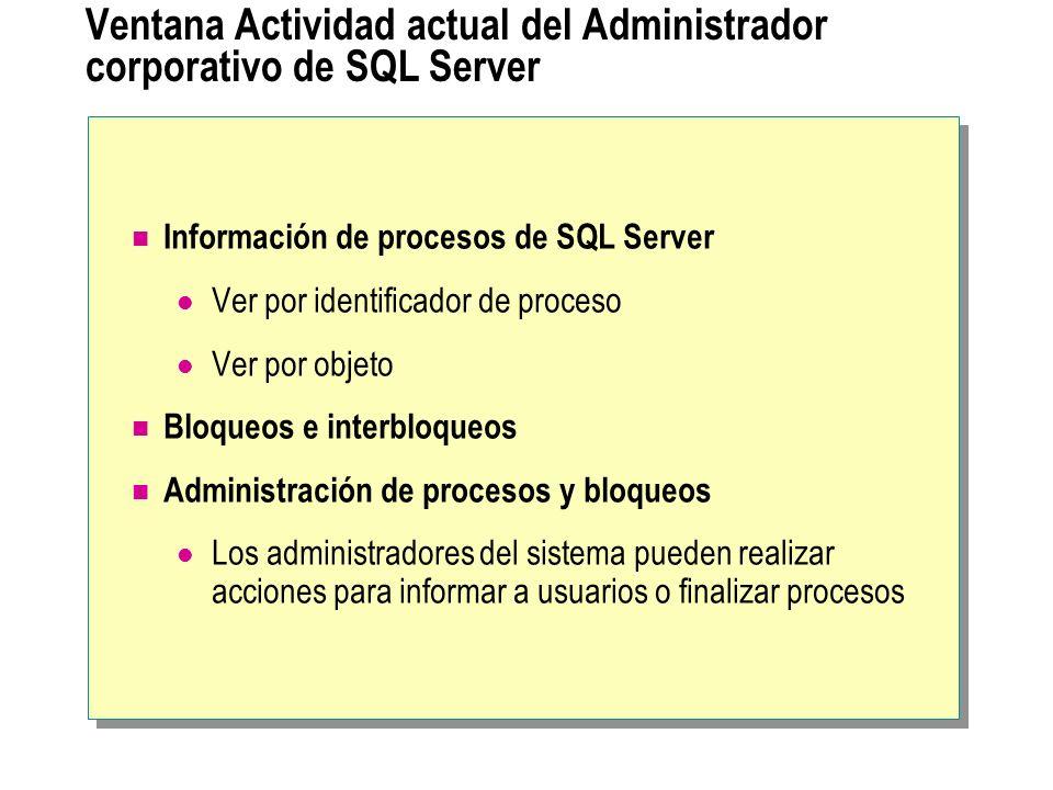 Ventana Actividad actual del Administrador corporativo de SQL Server Información de procesos de SQL Server Ver por identificador de proceso Ver por ob