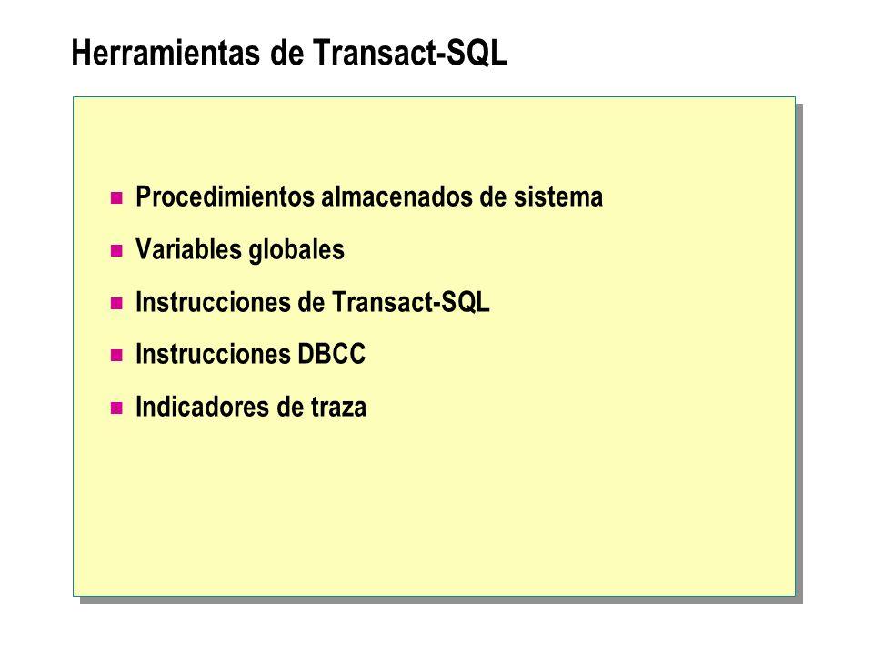 Herramientas de Transact-SQL Procedimientos almacenados de sistema Variables globales Instrucciones de Transact-SQL Instrucciones DBCC Indicadores de