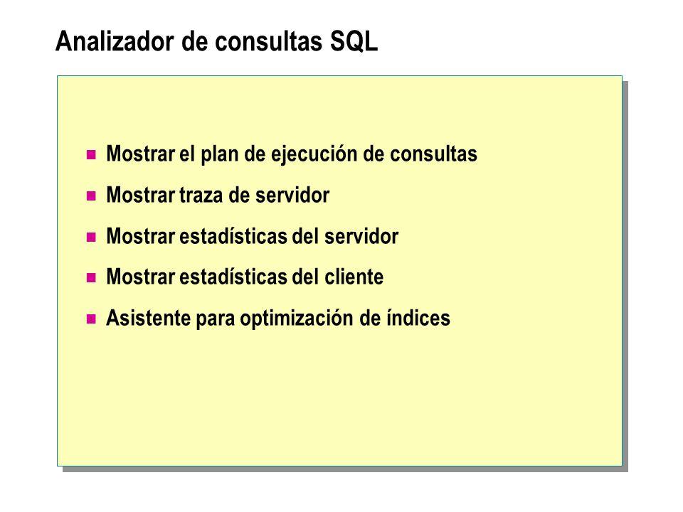 Analizador de consultas SQL Mostrar el plan de ejecución de consultas Mostrar traza de servidor Mostrar estadísticas del servidor Mostrar estadísticas