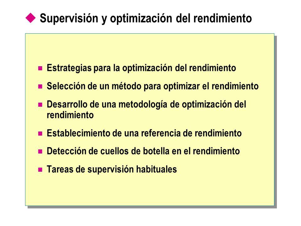 Supervisión y optimización del rendimiento Estrategias para la optimización del rendimiento Selección de un método para optimizar el rendimiento Desar
