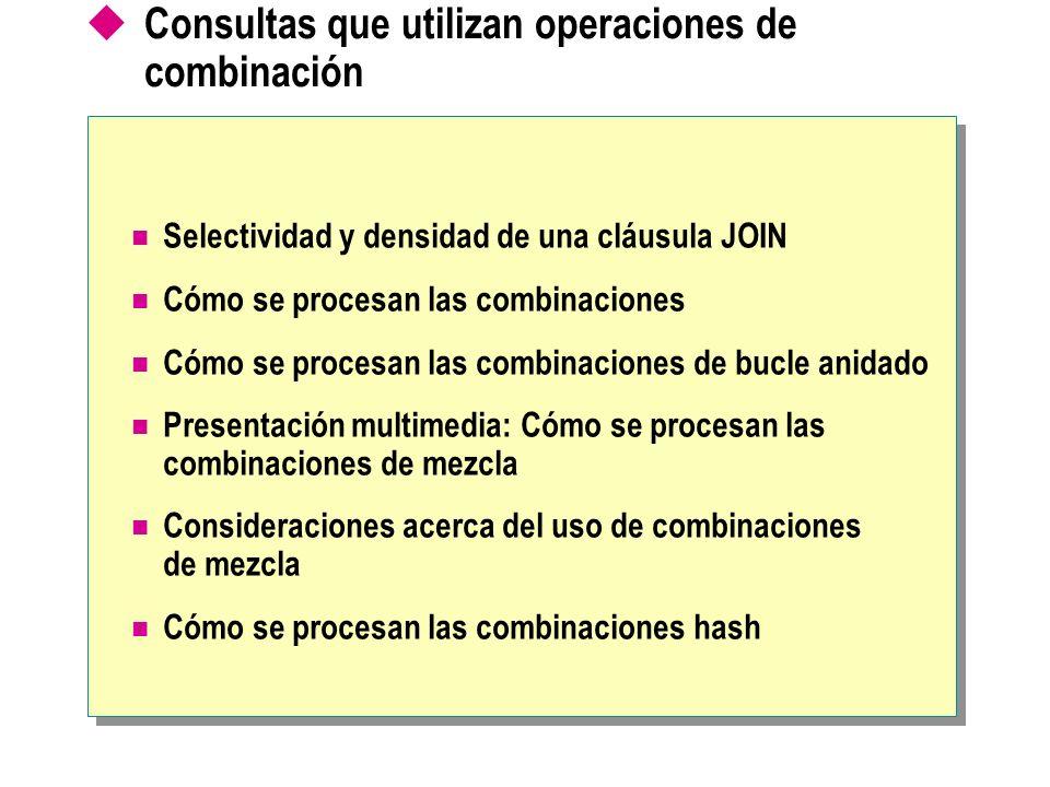 Consultas que utilizan operaciones de combinación Selectividad y densidad de una cláusula JOIN Cómo se procesan las combinaciones Cómo se procesan las