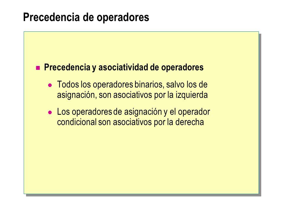 Precedencia de operadores Precedencia y asociatividad de operadores Todos los operadores binarios, salvo los de asignación, son asociativos por la izq