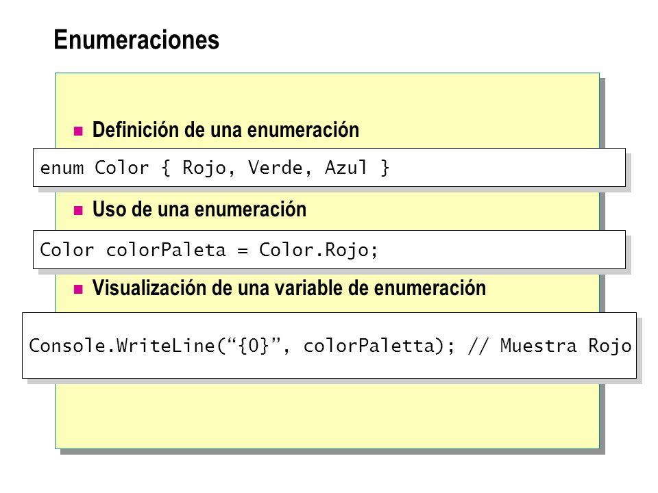 Enumeraciones Definición de una enumeración Uso de una enumeración Visualización de una variable de enumeración enum Color { Rojo, Verde, Azul } Color