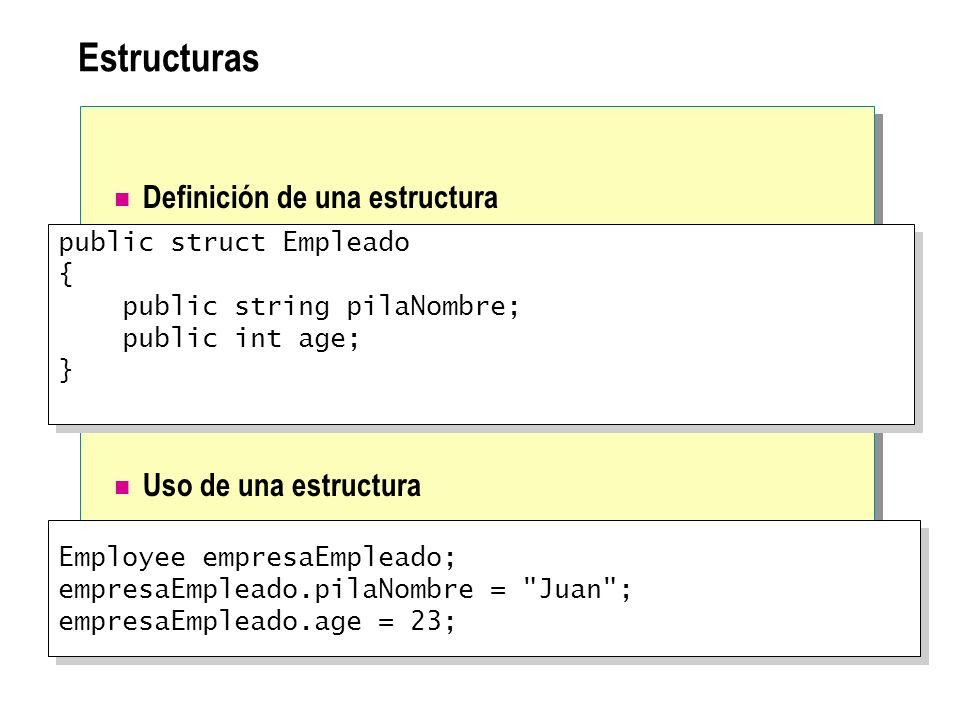 Estructuras Definición de una estructura Uso de una estructura Employee empresaEmpleado; empresaEmpleado.pilaNombre =