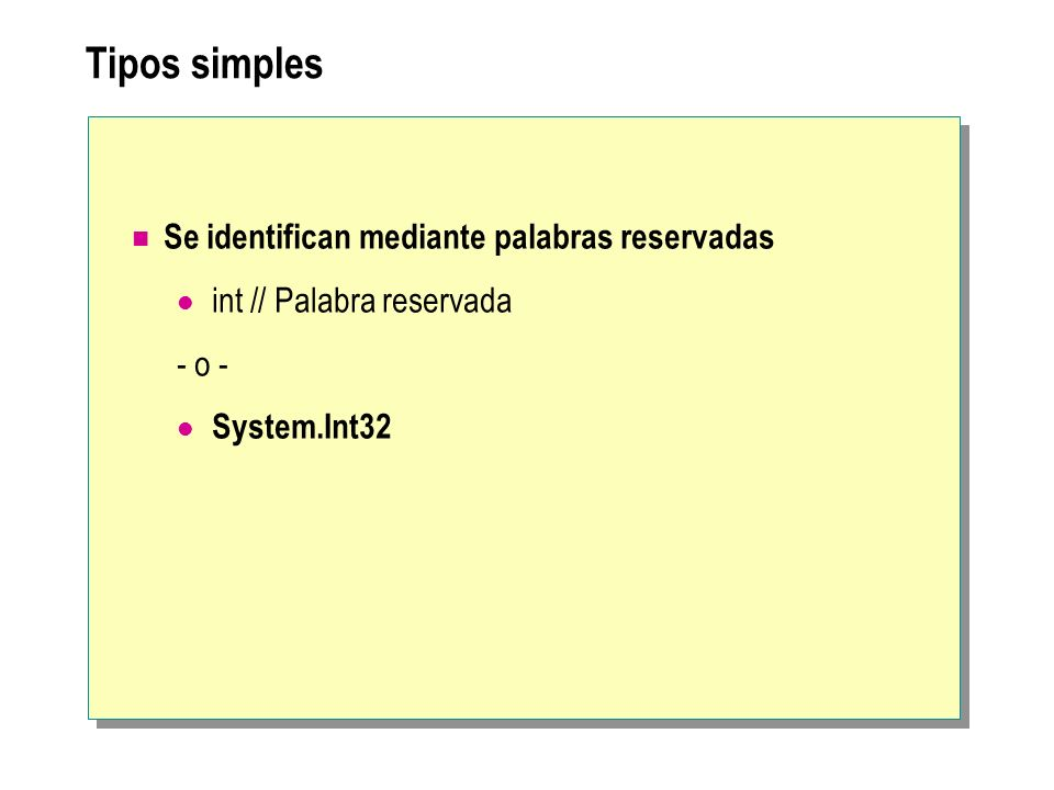 Tipos simples Se identifican mediante palabras reservadas int // Palabra reservada - o - System.Int32