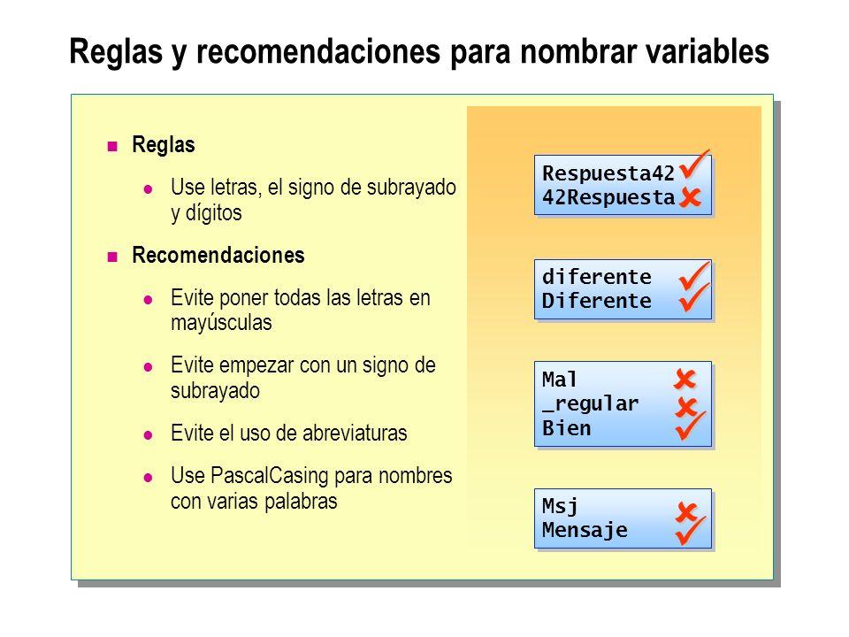 Reglas y recomendaciones para nombrar variables Reglas Use letras, el signo de subrayado y dígitos Recomendaciones Evite poner todas las letras en may