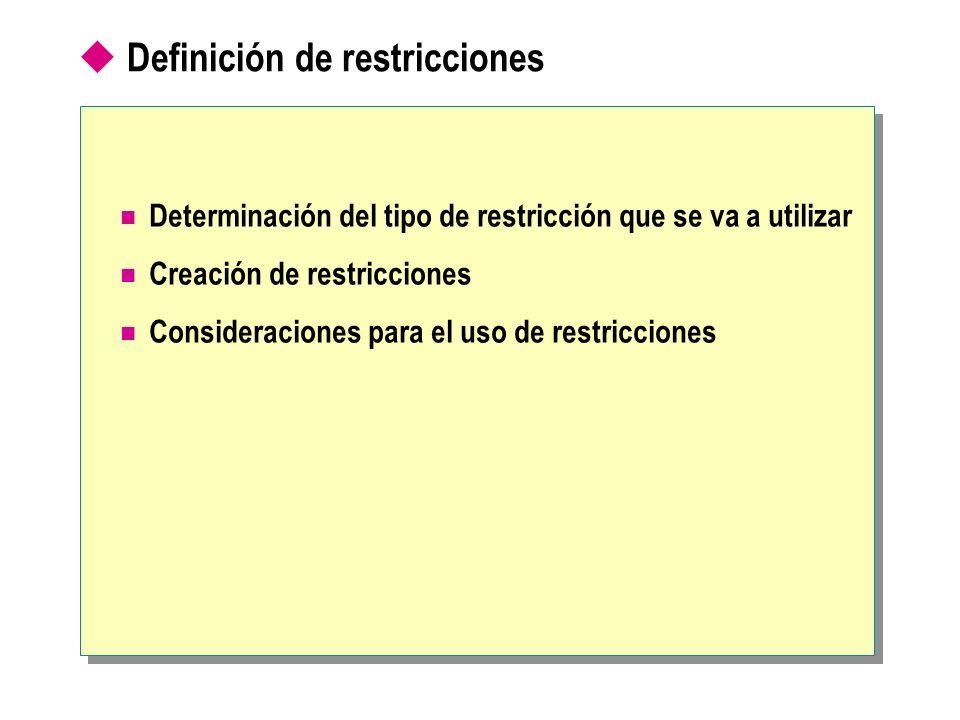 Determinación del tipo de restricción que se va a utilizar Tipo de integridad Tipo de restricción Dominio DEFAULT CHECK REFERENTIAL Entidad PRIMARY KEY UNIQUE Referencial FOREIGN KEY CHECK