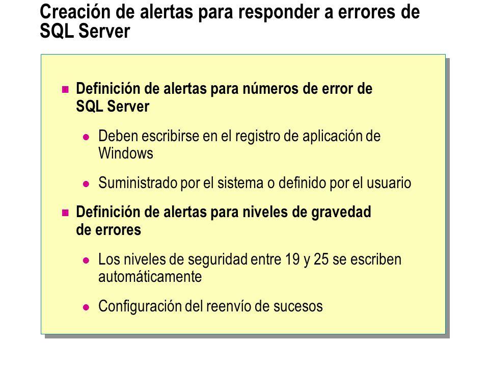 Creación de alertas para responder a errores de SQL Server Definición de alertas para números de error de SQL Server Deben escribirse en el registro de aplicación de Windows Suministrado por el sistema o definido por el usuario Definición de alertas para niveles de gravedad de errores Los niveles de seguridad entre 19 y 25 se escriben automáticamente Configuración del reenvío de sucesos