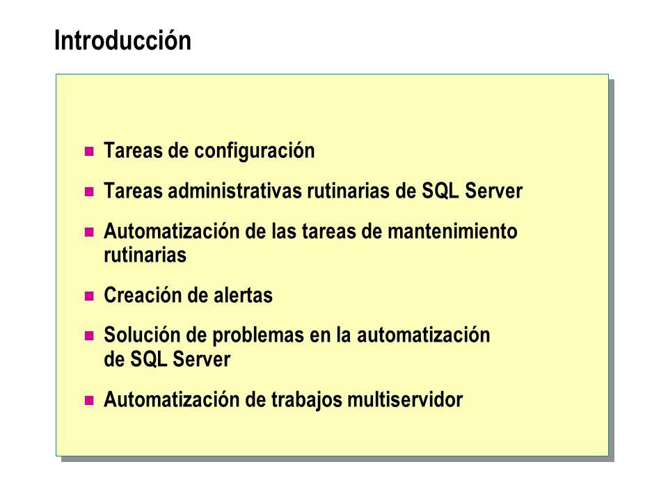 Introducción Tareas de configuración Tareas administrativas rutinarias de SQL Server Automatización de las tareas de mantenimiento rutinarias Creación de alertas Solución de problemas en la automatización de SQL Server Automatización de trabajos multiservidor
