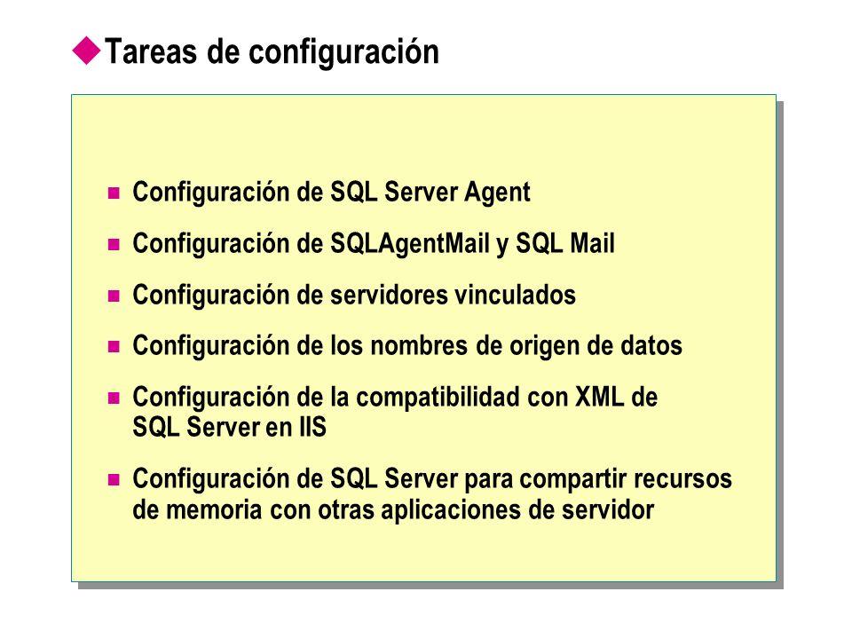Tareas de configuración Configuración de SQL Server Agent Configuración de SQLAgentMail y SQL Mail Configuración de servidores vinculados Configuración de los nombres de origen de datos Configuración de la compatibilidad con XML de SQL Server en IIS Configuración de SQL Server para compartir recursos de memoria con otras aplicaciones de servidor