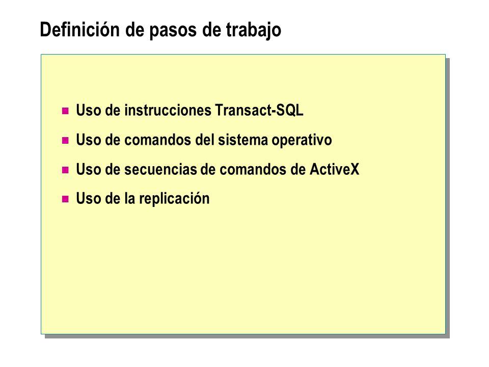 Definición de pasos de trabajo Uso de instrucciones Transact-SQL Uso de comandos del sistema operativo Uso de secuencias de comandos de ActiveX Uso de la replicación