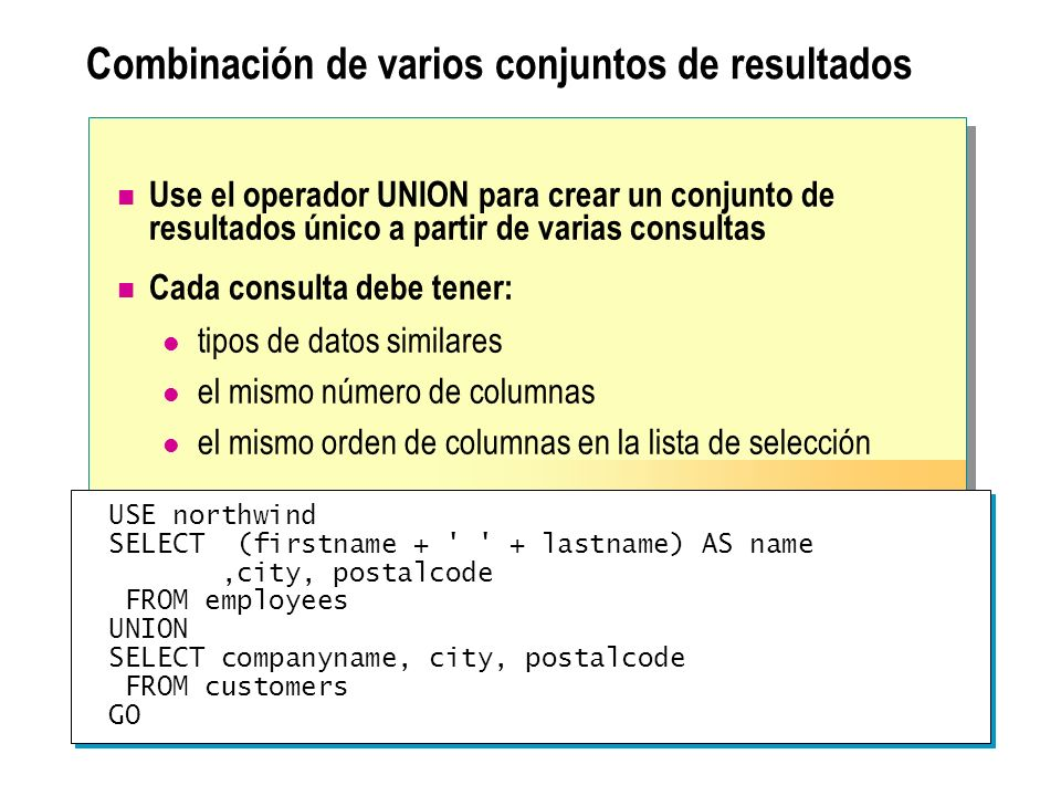 Combinación de varios conjuntos de resultados Use el operador UNION para crear un conjunto de resultados único a partir de varias consultas Cada consulta debe tener: tipos de datos similares el mismo número de columnas el mismo orden de columnas en la lista de selección USE northwind SELECT (firstname + + lastname) AS name,city, postalcode FROM employees UNION SELECT companyname, city, postalcode FROM customers GO USE northwind SELECT (firstname + + lastname) AS name,city, postalcode FROM employees UNION SELECT companyname, city, postalcode FROM customers GO