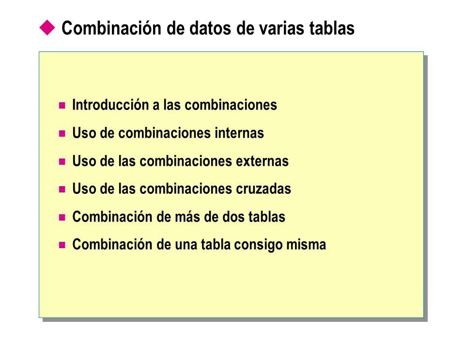 Combinación de datos de varias tablas Introducción a las combinaciones Uso de combinaciones internas Uso de las combinaciones externas Uso de las combinaciones cruzadas Combinación de más de dos tablas Combinación de una tabla consigo misma