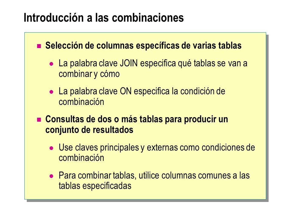 Introducción a las combinaciones Selección de columnas específicas de varias tablas La palabra clave JOIN especifica qué tablas se van a combinar y cómo La palabra clave ON especifica la condición de combinación Consultas de dos o más tablas para producir un conjunto de resultados Use claves principales y externas como condiciones de combinación Para combinar tablas, utilice columnas comunes a las tablas especificadas