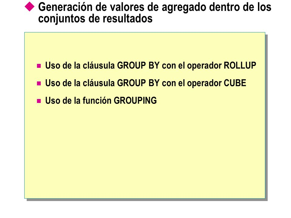 Descripción Uso de la cláusula GROUP BY con el operador ROLLUP USE northwind SELECT productid, orderid, SUM(quantity) AS total_quantity FROM orderhist GROUP BY productid, orderid WITH ROLLUP ORDER BY productid, orderid GO USE northwind SELECT productid, orderid, SUM(quantity) AS total_quantity FROM orderhist GROUP BY productid, orderid WITH ROLLUP ORDER BY productid, orderid GOproductidproductidorderidorderidtotal_quantitytotal_quantity NULL 95 1 1 NULL 15 1 1 1 1 5 5 1 1 2 2 10 2 2 NULL 35 2 2 1 1 10 2 2 2 2 25 3 3 NULL 45 3 3 1 1 15 3 3 2 2 30 Total general Resume sólo las filas para productid 1 Detalla el valor para productid 1, orderid 1 Detalla el valor para productid 1, orderid 2 Resume sólo las filas para productid 2 Detalla el valor para productid 2, orderid 1 Resume sólo las filas para productid 3 Detalla el valor para productid 3, orderid 1 Detalla el valor para productid 3, orderid 2