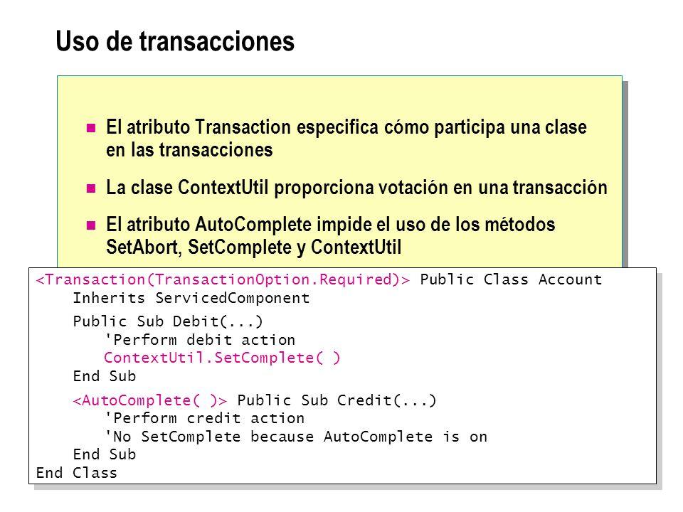 Uso de transacciones El atributo Transaction especifica cómo participa una clase en las transacciones La clase ContextUtil proporciona votación en una