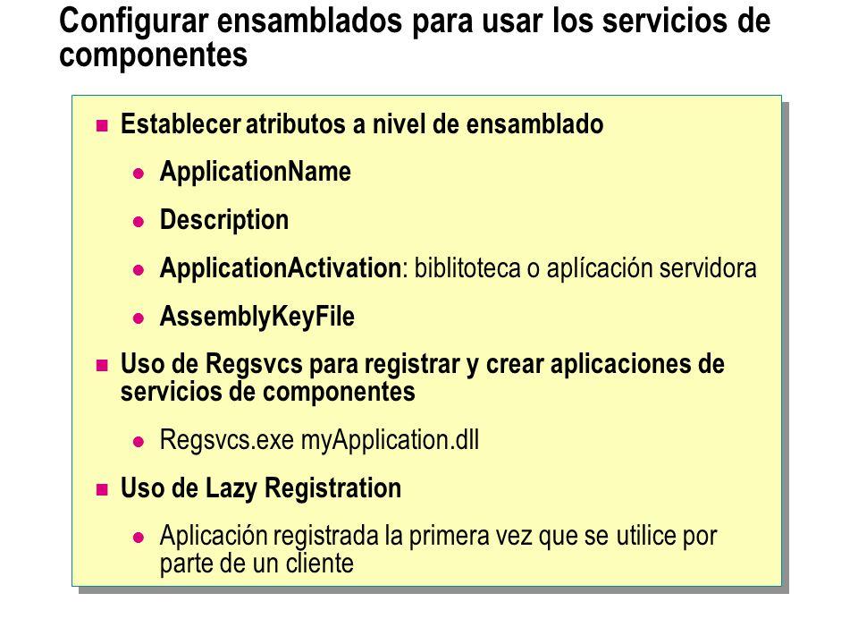 Configurar ensamblados para usar los servicios de componentes Establecer atributos a nivel de ensamblado ApplicationName Description ApplicationActiva