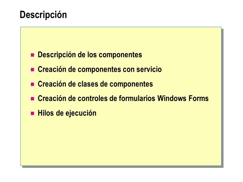 Descripción de los componentes Tipos de componentes Uso de módulos como componentes Uso de clases como componentes Uso de componentes en aplicaciones cliente no gestionadas Descripción de.NET Remoting