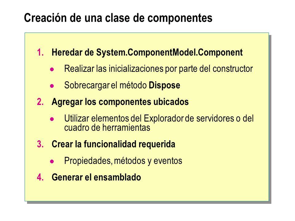Creación de una clase de componentes 1.Heredar de System.ComponentModel.Component Realizar las inicializaciones por parte del constructor Sobrecargar