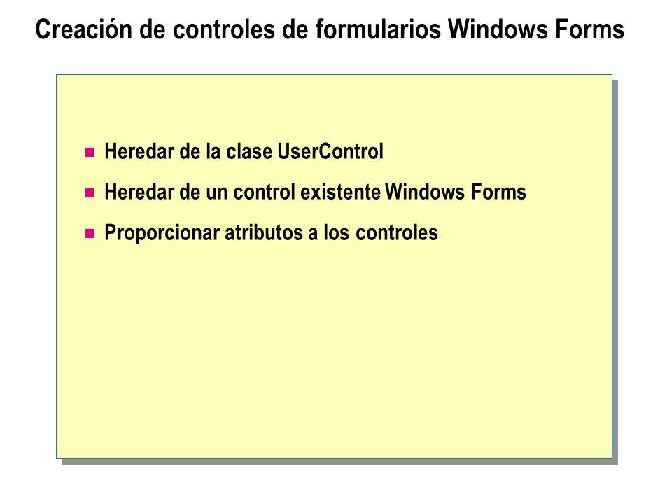 Creación de controles de formularios Windows Forms Heredar de la clase UserControl Heredar de un control existente Windows Forms Proporcionar atributo