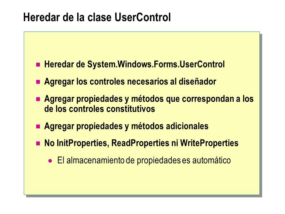 Heredar de la clase UserControl Heredar de System.Windows.Forms.UserControl Agregar los controles necesarios al diseñador Agregar propiedades y método