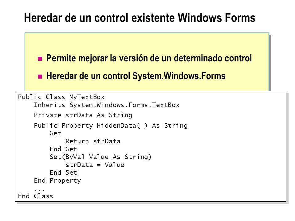 Heredar de un control existente Windows Forms Permite mejorar la versión de un determinado control Heredar de un control System.Windows.Forms Public C