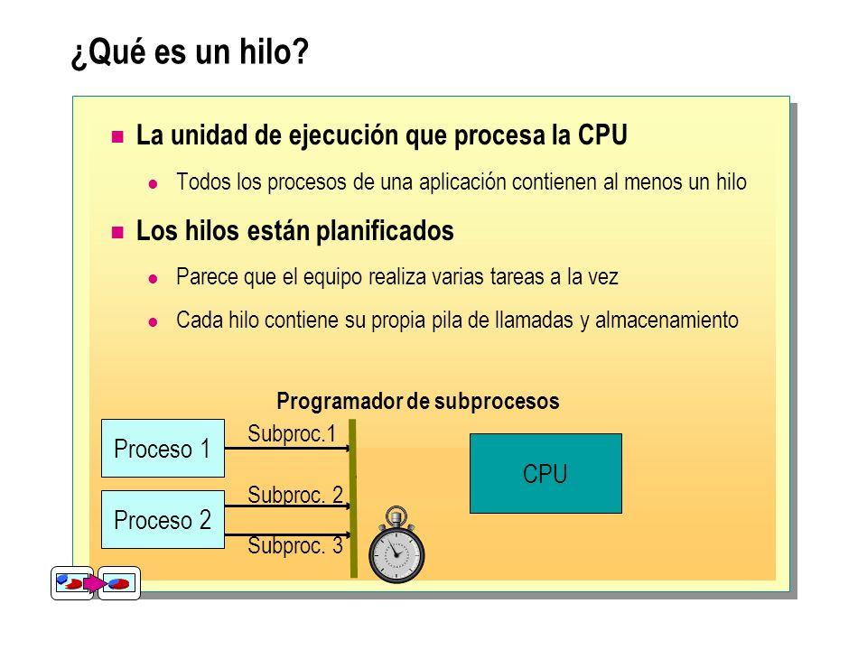 ¿Qué es un hilo? La unidad de ejecución que procesa la CPU Todos los procesos de una aplicación contienen al menos un hilo Los hilos están planificado