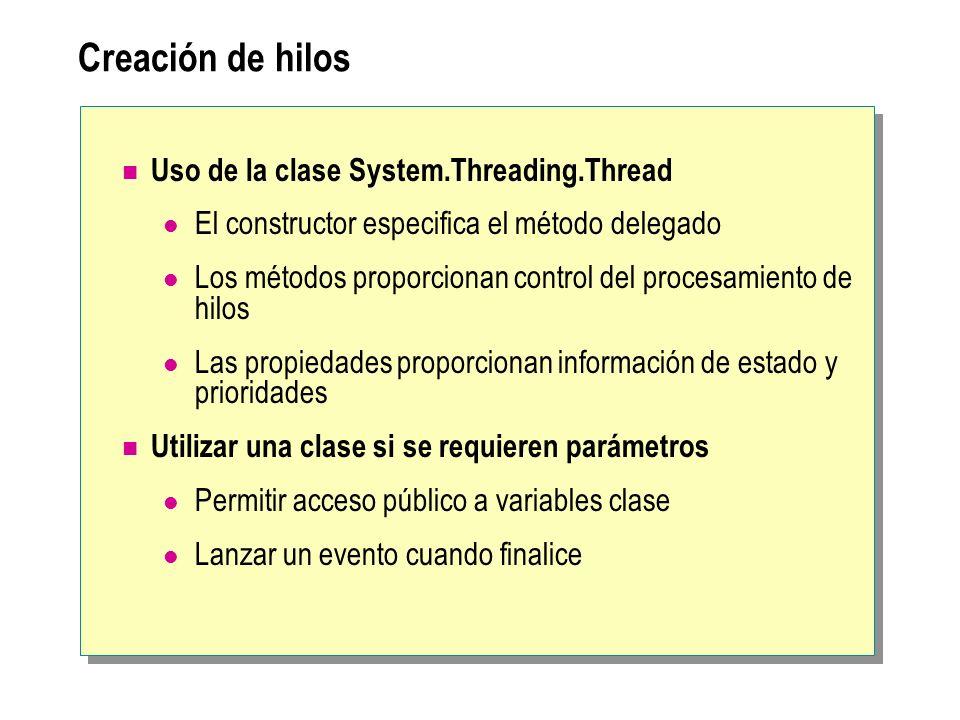 Creación de hilos Uso de la clase System.Threading.Thread El constructor especifica el método delegado Los métodos proporcionan control del procesamie