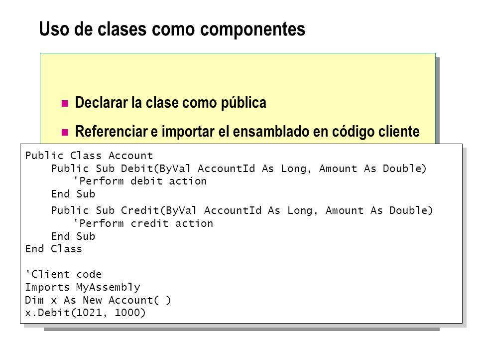 Uso de clases como componentes Declarar la clase como pública Referenciar e importar el ensamblado en código cliente Public Class Account Public Sub D