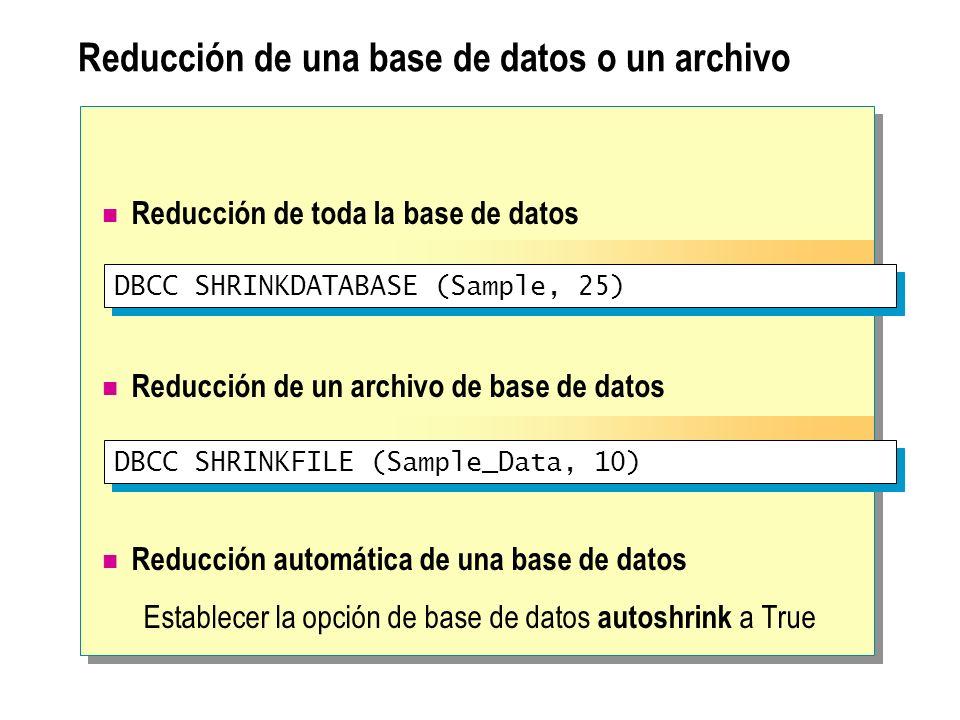Reducción de una base de datos o un archivo Reducción de toda la base de datos Reducción de un archivo de base de datos Reducción automática de una ba