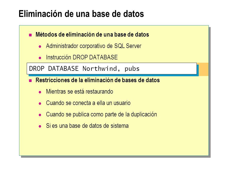 Eliminación de una base de datos DROP DATABASE Northwind, pubs Métodos de eliminación de una base de datos Administrador corporativo de SQL Server Ins