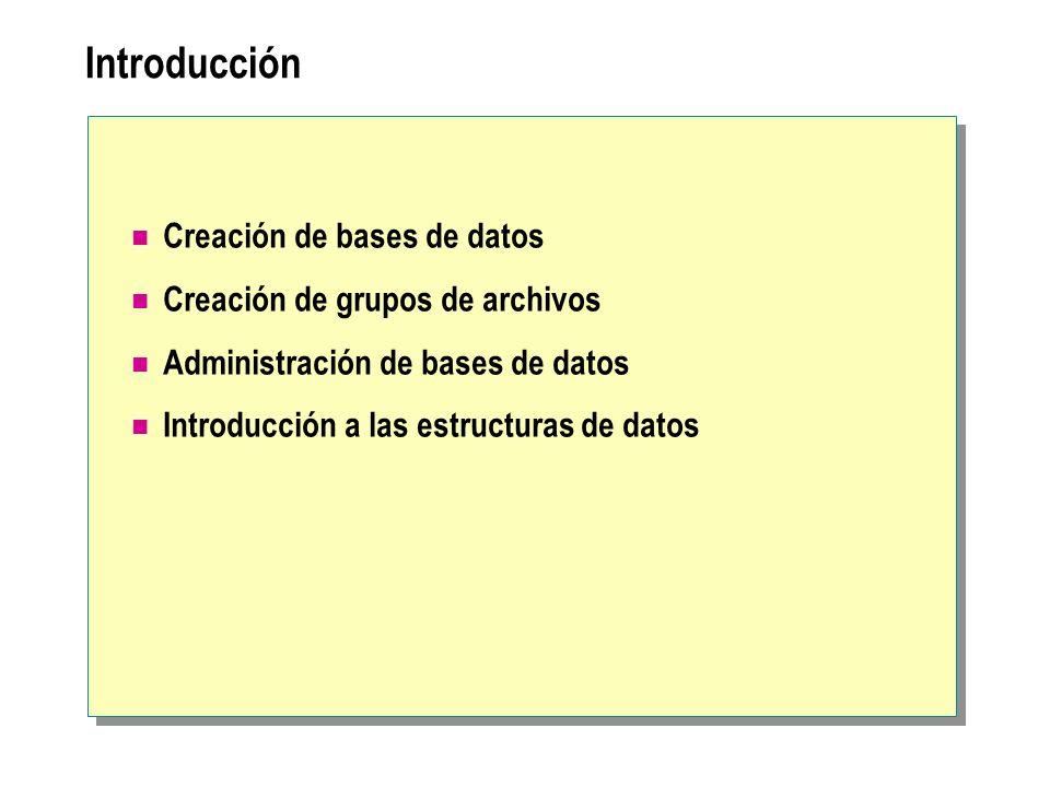 Introducción Creación de bases de datos Creación de grupos de archivos Administración de bases de datos Introducción a las estructuras de datos