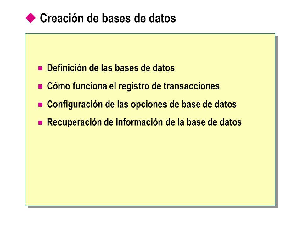 Creación de bases de datos Definición de las bases de datos Cómo funciona el registro de transacciones Configuración de las opciones de base de datos