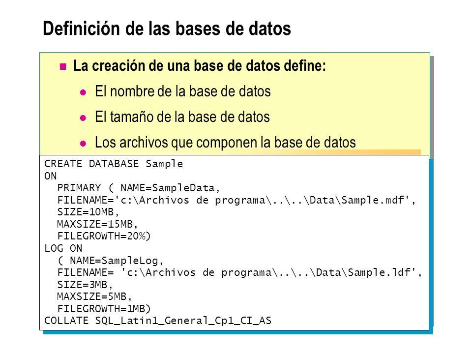 Definición de las bases de datos CREATE DATABASE Sample ON PRIMARY ( NAME=SampleData, FILENAME='c:\Archivos de programa\..\..\Data\Sample.mdf', SIZE=1