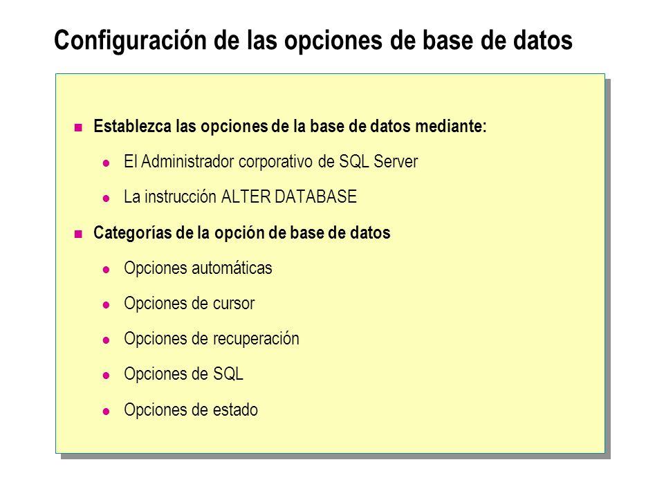 Configuración de las opciones de base de datos Establezca las opciones de la base de datos mediante: El Administrador corporativo de SQL Server La ins