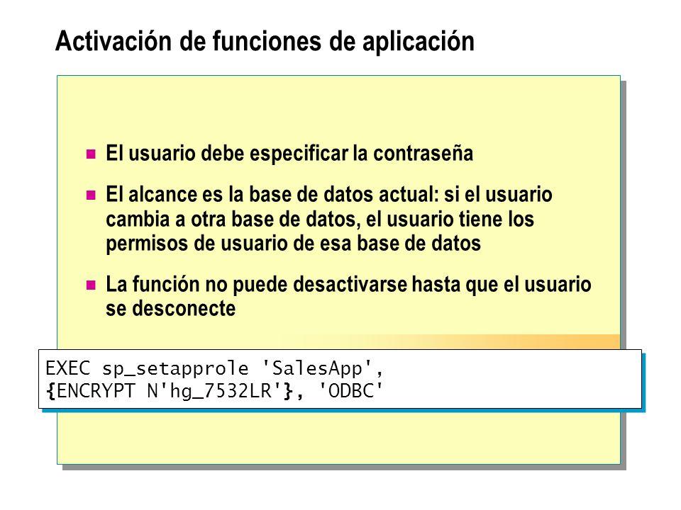 EXEC sp_setapprole 'SalesApp', {ENCRYPT N'hg_7532LR'}, 'ODBC' Activación de funciones de aplicación El usuario debe especificar la contraseña El alcan
