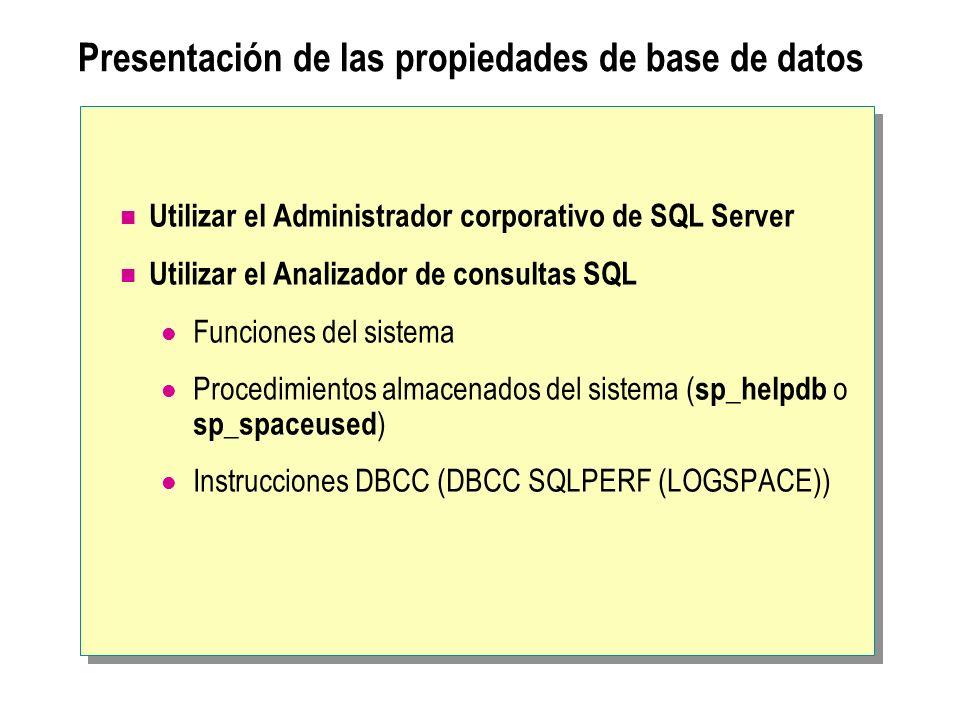 Presentación de las propiedades de base de datos Utilizar el Administrador corporativo de SQL Server Utilizar el Analizador de consultas SQL Funciones